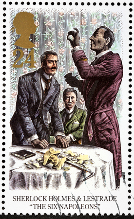 sherlock holmes: UNITED KINGDOM - CIRCA 1993: A stamp printed by GREAT BRITAIN shows Sherlock Holmes, Lestrade and Dr. Watson. The Adventure of the Six Napoleons -  short story by Arthur Conan Doyle, circa 1993 Editorial