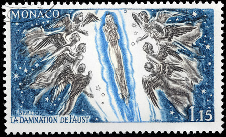 damnation: MONACO - CIRCA 1969: A stamp printed by MONACO shows scene from Hector Berlioz opera The Damnation of Faust (The opera is based on Faust by Johann Wolfgang von Goethe), circa 1969.