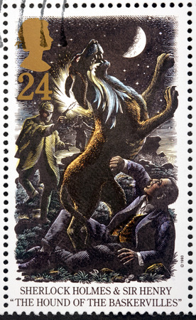 sherlock holmes: UNITED KINGDOM - CIRCA 1993: A stamp printed by GREAT BRITAIN shows Sherlock Holmes and  Sir Henry. The Hound of The Baskervilles is a crime novel written by British author Arthur Conan Doyle, circa 1993