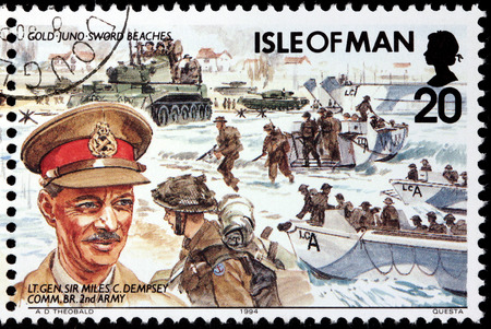 bimbo: ISLE OF MAN - CIRCA 1994: A stamp printed by GREAT BRITAIN shows image portrait of  British General Sir Miles C. Dempsey - commander of the British Second Army during the D-Day landings, circa 1994