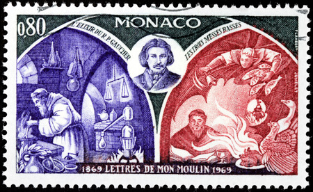 novelist: MONACO - CIRCA 1969: A stamp printed by MONACO shows image portrait of French novelist Alphonse Daudet. Letters from My Windmill (Lettres de mon moulin) is a collection of short stories, circa 1969 Editorial