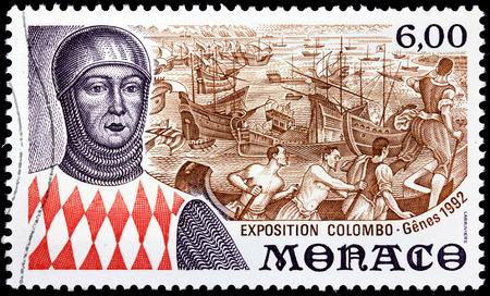 colonizer: MONACO - CIRCA 1992: A stamp printed by MONACO shows image portrait of Christopher Columbus - Italian explorer, navigator, and colonizer born in the Republic of Genoa, circa 1992