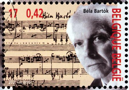 BELGIUM - CIRCA 2000: A stamp printed by BELGIUM shows image portrait of famous Hungarian composer and pianist Bela Viktor Janos Bartok, circa 2000.