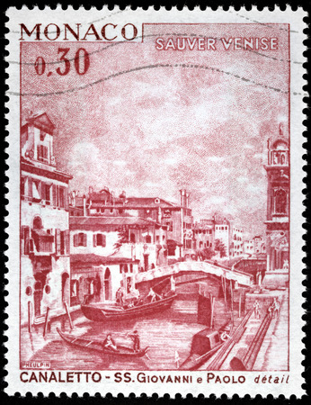 MONACO - CIRCA 1972: A stamp printed by MONACO shows view of old Venice. Engraving after a painting by Italian painter Giovanni Antonio Canal better known as Canaletto, circa 1972
