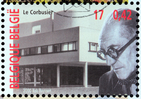 BELGIUM - CIRCA 2000: A stamp printed by BELGIUM shows image portrait of an architect, designer, painter, urban planner, writer Le Corbusier - one of the pioneers of modern architecture, circa 2000. Editorial