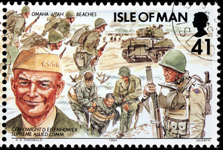 eisenhower: ISLE OF MAN - CIRCA 1994: A stamp printed by GREAT BRITAIN shows image portrait of General  Dwight David (Ike) Eisenhower - Supreme Allied Commander of the Allied Expeditionary Force, circa 1994