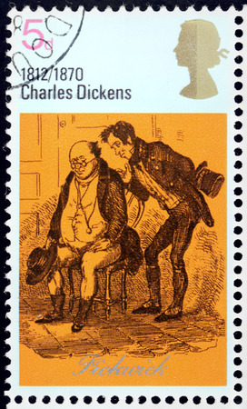 dickens: UNITED KINGDOM - CIRCA 1970: A stamp printed by GREAT BRITAIN shows scene from The Posthumous Papers of the Pickwick Club novel by English author Charles Dickens, circa 1970
