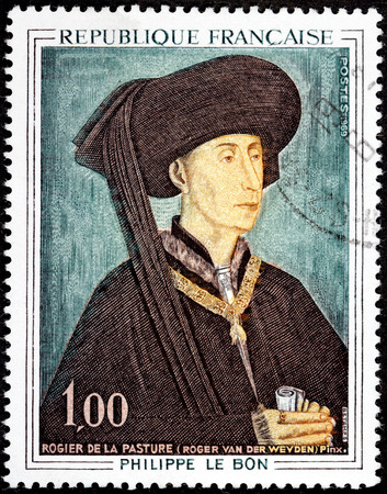 flemish: FRANCE - CIRCA 1969: A stamp printed by FRANCE shows engraving after painting portrait of Duke of Burgundy Philippe The Good by Flemish painter Rogier van der Weyden (Roger de la Pasture), circa 1969 Editorial