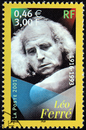 monegasque: FRANCE - CIRCA 2001: A stamp printed by FRANCE shows image portrait of Monegasque poet, composer, singer, songwriter and a dynamic and controversial live performer Leo Ferre, circa 2001