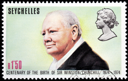 winston: SEYCHELLES - CIRCA 1974: A stamp printed by SEYCHELLES shows image portrait of  famous British statesman, Prime Minister of the United Kingdom Sir Winston Churchill, circa 1974