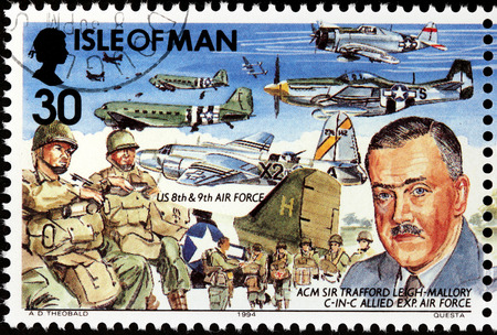 expeditionary: ISLE OF MAN - CIRCA 1994: A stamp printed by GREAT BRITAIN shows image portrait of Commander-in-chief of the Allied Expeditionary Air Force Trafford Leigh-Mallory, circa 1994