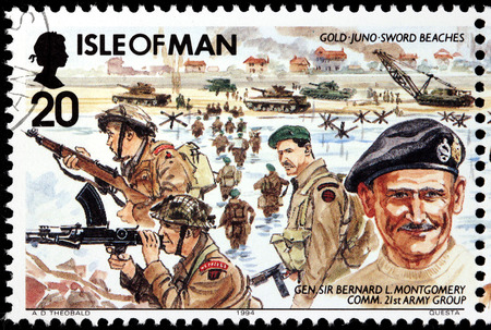montgomery: ISLE OF MAN - CIRCA 1994: A stamp printed by GREAT BRITAIN shows image portrait of  British General Sir Bernard Law Montgomery - commander of the 21st Army Group, circa 1994 Editorial