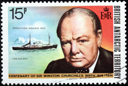 statesman: BRITISH ANTARCTIC TERRITORY - CIRCA 1974: A stamp printed by GREAT BRITAIN shows image portrait of famous British statesman, Prime Minister of the United Kingdom Sir Winston Churchill, circa 1974 Editorial