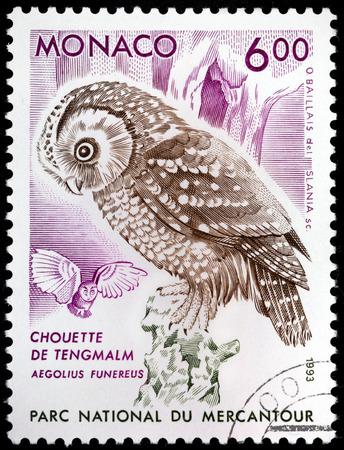 boreal: MONACO - CIRCA 1993: A stamp printed by MONACO shows Boreal Owl (Aegolius funereus), circa 1993. Editorial