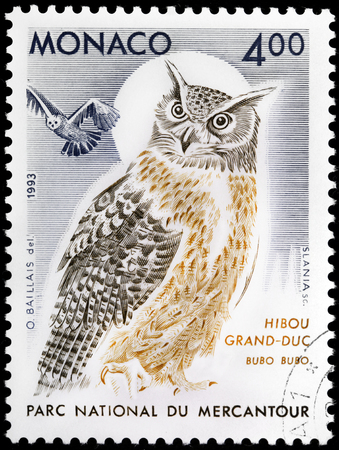 MONACO - CIRCA 1993: A stamp printed by MONACO shows Eurasian Eagle-Owl (Bubo bubo) also known as the Indian Great Horned Owl, circa 1993.