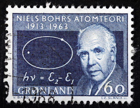 nobel: GREENLAND - CIRCA 1963: A stamp printed by GREENLAND shows image portrait of famous Danish physicist Niels Henrik David Bohr. He received the Nobel Prize in Physics, circa 1963 Editorial