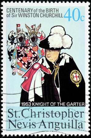 statesman: SAINT CHRISTOPHER, NEVIS, ANGUILLA - CIRCA 1974: A stamp printed by SAINT CHRISTOPHER, NEVIS and ANGUILLA shows image portrait of famous British statesman Sir Winston Churchill, circa 1974 Editorial
