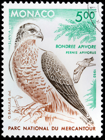 MONACO - CIRCA 1993: A stamp printed by MONACO shows European Honey Buzzard (Pernis apivorus), also known as the Pern or Common Pern - bird of prey in the family Accipitridae, circa 1993.