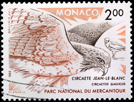 accipitridae: MONACO - CIRCA 1993: A stamp printed by MONACO shows Short-toed Snake Eagle (Circaetus gallicus) also known as Short-toed Eagle - a medium sized bird of prey in the family Accipitridae, circa 1993.