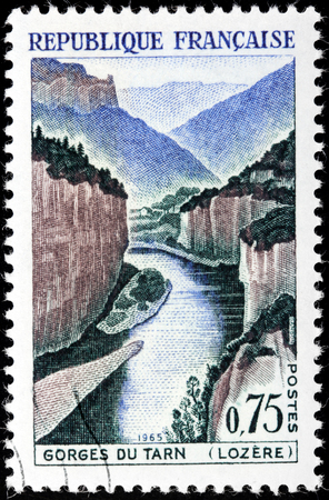 FRANCE - CIRCA 1965: A stamp printed by FRANCE shows view of Gorges du Tarn - canyon formed by the Tarn River between Causse Mejean and Causse de Sauveterre, in southern France, circa 1965