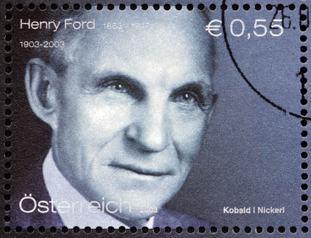 AUSTRIA - CIRCA 2003: A stamp printed by AUSTRIA shows image portrait of Henry Ford - an American industrialist, business magnate, the founder of the Ford Motor Company, circa 2003.