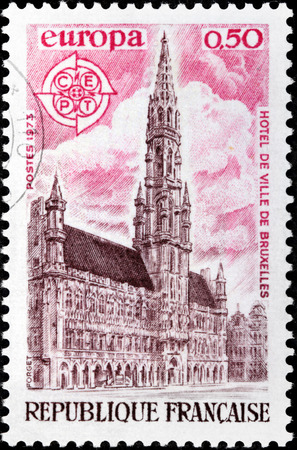 FRANCE - CIRCA 1973: A stamp printed by FRANCE shows view of Brussels Town Hall (Hotel de Ville de Bruxelles). Brussels (Bruxelles) is the capital and largest city of Belgium, circa 1973