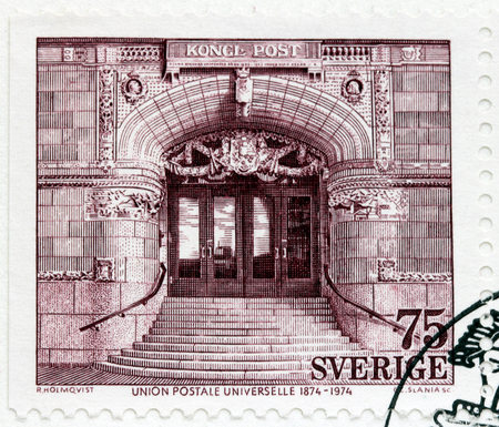 SWEDEN - CIRCA 1974: A stamp printed by SWEDEN shows view of The main entrance of the Central Post Office in Stockholm. The stamp from the Centenary of the Universal Postal Union set, circa 1974
