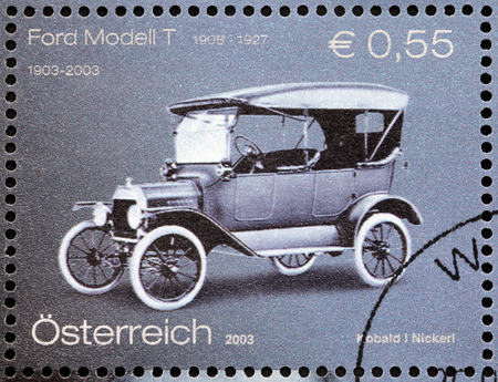 lizzie: AUSTRIA - CIRCA 2003: A stamp printed by AUSTRIA shows The Ford Model T (colloquially known as the Tin Lizzie or Tin Lizzy) - first automobile mass-produced on moving assembly lines, circa 2003.
