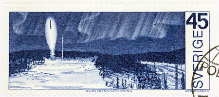 kiruna: SWEDEN - CIRCA 1970: A stamp printed by SWEDEN shows Rocket Launching from the Esrange Rocket Base near Kiruna for Aurora Borealis Research. The stamp from Around the Arctic Circle set, circa 1970
