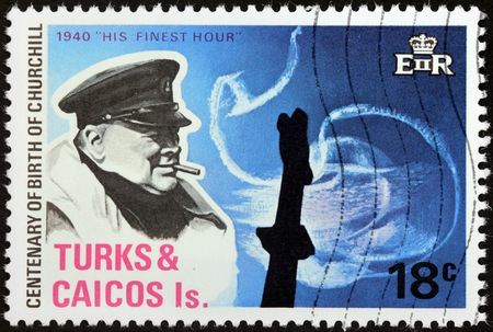 statesman: TURKS AND CAICOS ISLANDS - 1974: A stamp printed by GREAT BRITAIN shows image portrait of famous British statesman, Prime Minister Winston Churchill, circa 1974 Editorial