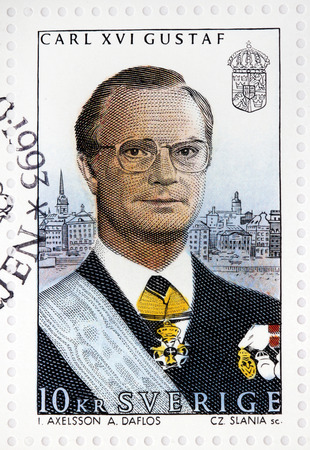 gustaf: SWEDEN - CIRCA 1993: A stamp printed by SWEDEN shows image portrait of King Carl XVI Gustaf at his 20th anniversary on the throne, circa 1993 Editorial