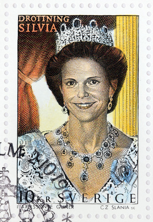 apparent: SWEDEN - CIRCA 1993: A stamp printed by SWEDEN shows Queen Silvia of Sweden - is the spouse of King Carl XVI Gustaf and mother of the heir apparent to the throne, Crown Princess Victoria, circa 1993