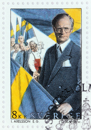 gustaf: SWEDEN - CIRCA 1993: A stamp printed by SWEDEN shows image portrait of King Carl XVI Gustaf at National Holiday, circa 1993 Editorial