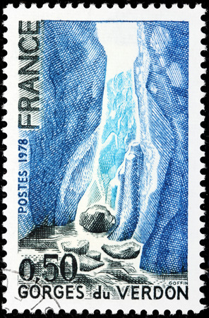 FRANCE - CIRCA 1978: A stamp printed by FRANCE shows view of The Verdon Gorge (Gorges du Verdon or Grand canyon du Verdon), in south-eastern France (Alpes-de-Haute-Provence), circa 1978