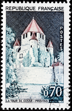 FRANCE - CIRCA 1964: A stamp printed by FRANCE shows view of the Caesar Tower in Provins town of medieval fairs in Seine-et-Marne department, Ile-de-France region, north-central France, circa 1964