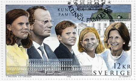 king carl xvi gustaf: SWEDEN - CIRCA 1993: A stamp printed by SWEDEN shows image portraits of Crown Princess Victoria, King Carl XVI Gustaf of Sweden, Prince Carl Philip, Princess Madeleine and Queen Silvia, circa 1993 Editorial