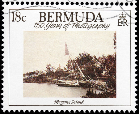 BERMUDA - CIRCA 1989: A stamp printed by GREAT BRITAIN shows old photograph of Morgans Island. Morgans Island is an island of Bermuda, circa 1989