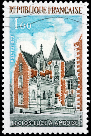 luce: FRANCE - CIRCA 1973: A stamp printed by FRANCE shows view of The Chateau du Clos Luce (or simply Clos Luce) - a small chateau in the city of Amboise, France, circa 1973 Editorial