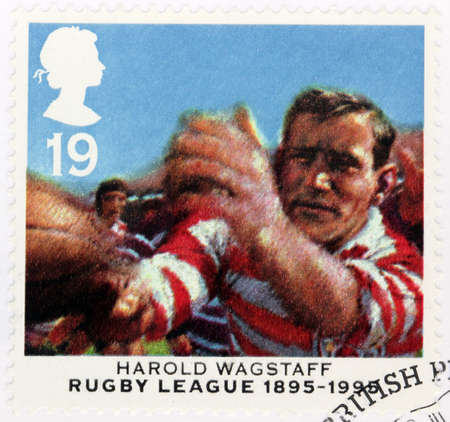 UNITED KINGDOM - CIRCA 1995: A stamp printed by GREAT BRITAIN shows image portrait of famous English rugby league footballer Harold Wagstaff (Prince of Centres), circa 1995