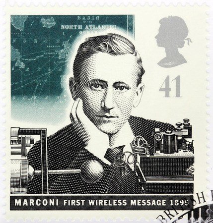 pioneering: UNITED KINGDOM - CIRCA 1995: A stamp printed by GREAT BRITAIN shows Italian physicist and inventor Guglielmo Marconi, known for his pioneering work on long-distance radio transmission circa, 1995 Editorial