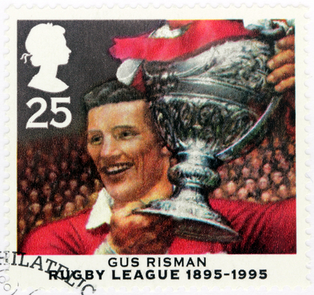 UNITED KINGDOM - CIRCA 1995: A stamp printed by GREAT BRITAIN shows image portrait of famous  Welsh rugby league footballer Augustus (Gus) John F. Risman, circa 1995
