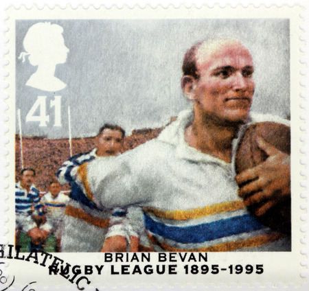 UNITED KINGDOM - CIRCA 1995: A stamp printed by GREAT BRITAIN shows image portrait of famous  Australian professional rugby league footballer Brian Eyrl Bevan, circa 1995