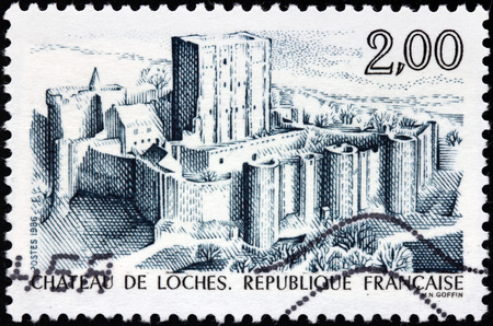 FRANCE - CIRCA 1986: A stamp printed by FRANCE shows Chateau de Loches - a castle located in the department of Indre-et-Loire in the Loire valley in France, circa 1986