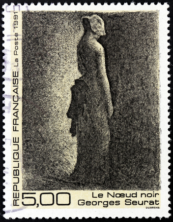 draftsman: FRANCE - CIRCA 1991: A stamp printed by FRANCE shows picture The Black Knot by famous French Post-Impressionist painter and draftsman Georges-Pierre Seurat (1859-1891), circa 1991 Editorial