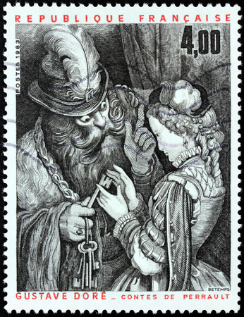 printmaker: FRANCE - CIRCA 1983: A stamp printed by FRANCE shows Bluebeard, his Wife, and the Keys in a 19th-century illustration by famous French artist, printmaker and illustrator Gustave Dore, circa 1983