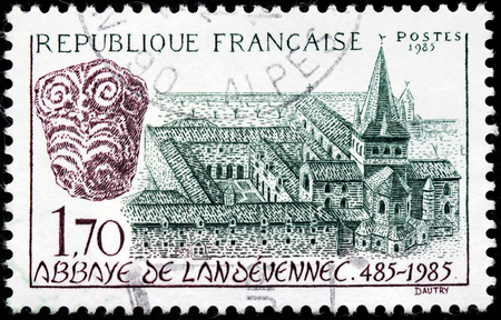 abbaye: FRANCE - CIRCA 1985: A stamp printed by FRANCE shows Landevennec Abbey (Abbaye de Landevennec) - a monastery in Brittany, now in Finistere, France, circa 1985