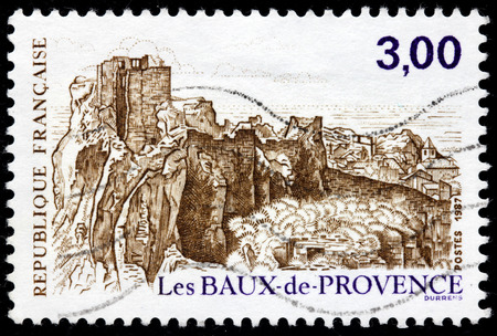 FRANCE - CIRCA 1987: A stamp printed by FRANCE shows Les Baux-de-Provence - a village in the Bouches-du-Rhone department of the province of Provence in southern France, circa 1987
