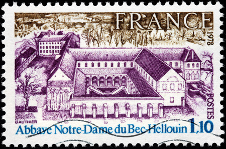 abbaye: FRANCE - CIRCA 1978: A stamp printed by FRANCE shows Bec Abbey (Abbaye Notre-Dame du Bec) in Le Bec Hellouin, Normandy, France, circa 1978 Editorial
