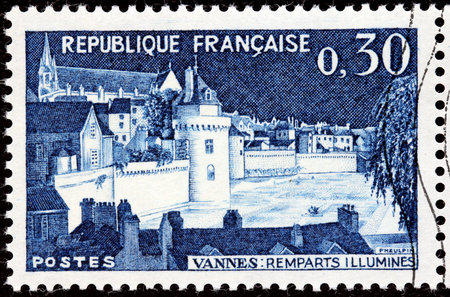 FRANCE - CIRCA 1962: A stamp printed by FRANCE shows Ramparts of Vannes. Vannes is a commune in the Morbihan department in Brittany in north-western France, circa 1962