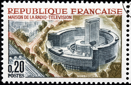 FRANCE - CIRCA 1963: A stamp printed by FRANCE shows birds-eye view of Radio and Television Center, Paris, circa 1963
